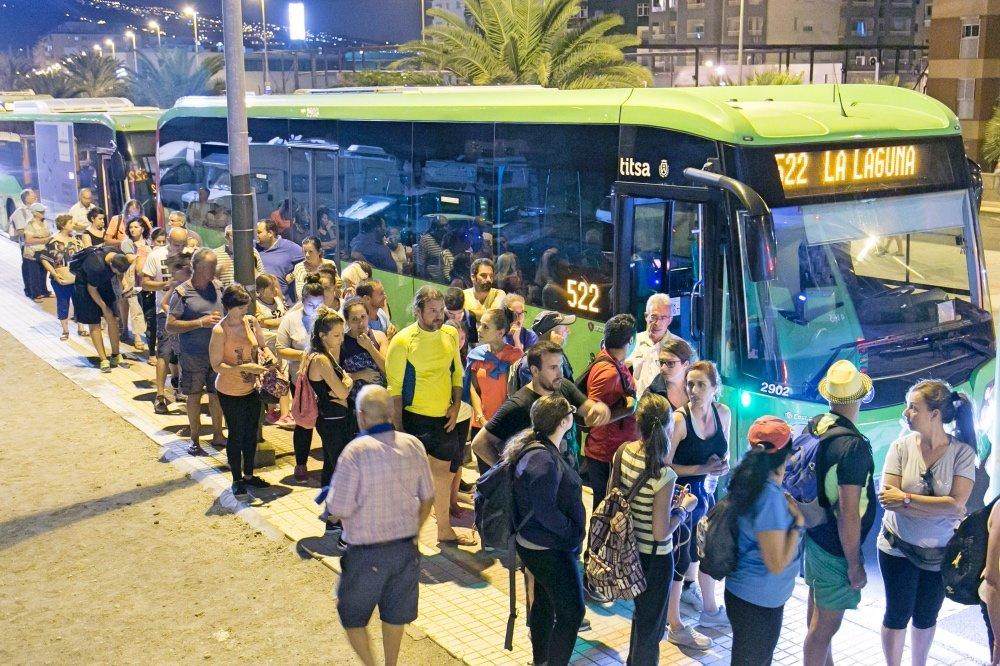 TITSA transporta a 17.000 personas en el dispositivo especial con motivo de la peregrinación a Candelaria
